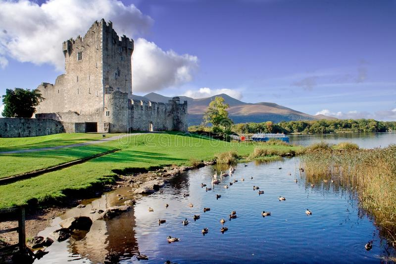 Old Fortress Ross Castle. Empty path leading up to the ruins of Ross Castle nestled on a lake in Killarney, Ireland stock image