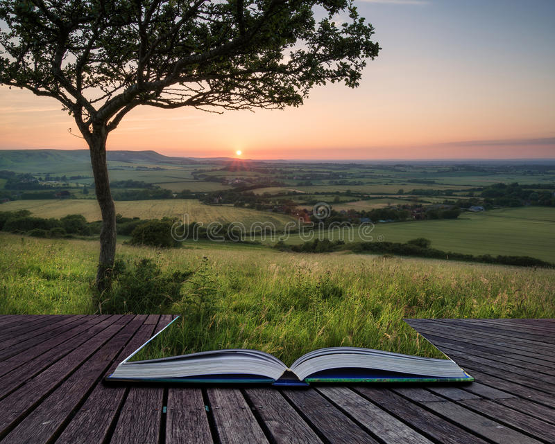 Landscape image Summer sunset view over English countryside conceptual book image royalty free stock images