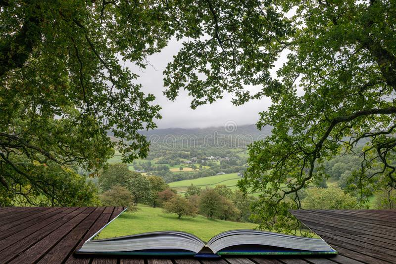 Landscape image of view from Precipice Walk in Snowdonia overlooking Barmouth and Coed-y-Brenin forest coming out of pages in. Beautiful landscape image of view stock photos