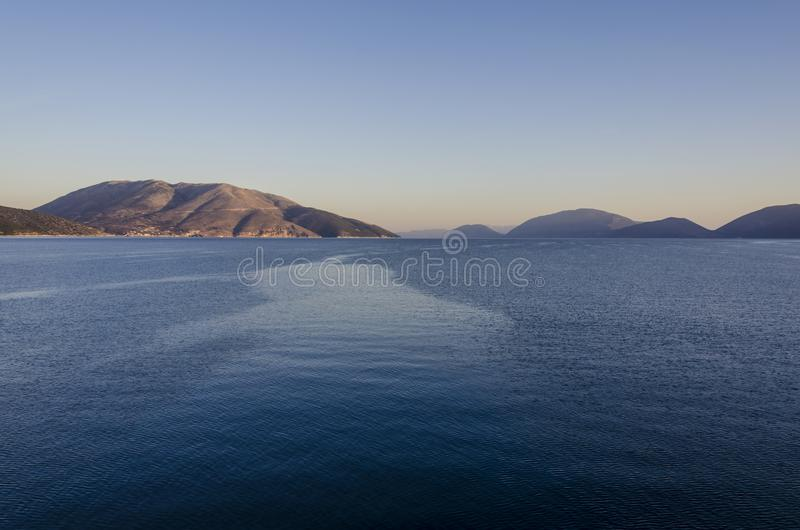 Landscape of the sea and the mountains of the Ionian islands Greece. Landscape the immensity of the Ionian sea and the mountains of the islands making the stock image