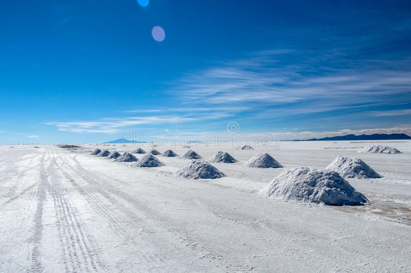 Landscape of incredibly white salt flat Salar de Uyuni, amid the Andes in southwest Bolivia, South America. Landscape of incredibly white salt flat Salar de stock images