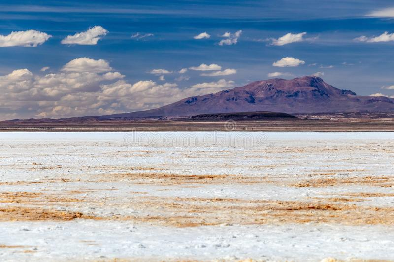 Landscape of incredibly white salt flat Salar de Uyuni, amid the Andes in southwest Bolivia, South America. Landscape of incredibly white salt flat Salar de stock photos