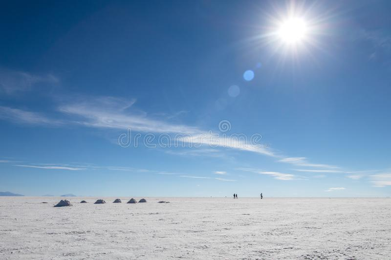 Landscape of incredibly white salt flat Salar de Uyuni, amid the Andes in southwest Bolivia, South America. Landscape of incredibly white salt flat Salar de royalty free stock photo