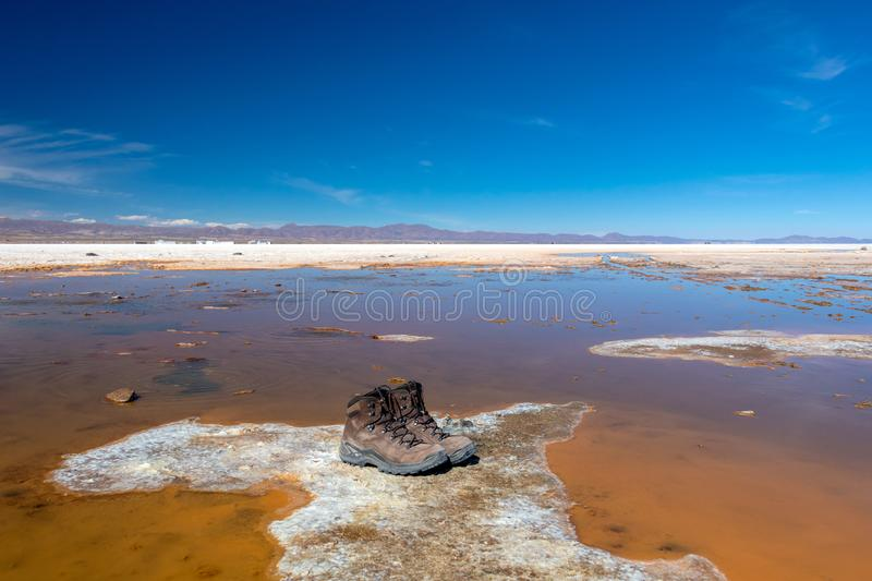 Landscape of incredibly white salt flat Salar de Uyuni, amid the Andes in southwest Bolivia, South America. Landscape of incredibly white salt flat Salar de stock photography