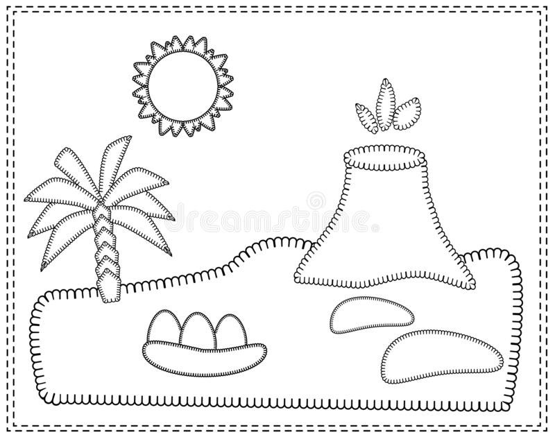 Landscape with the island of dinosaurs. Volcano, palm trees, sand, stones, sun, dinosaur eggs. Vector illustration in stitch style stock illustration