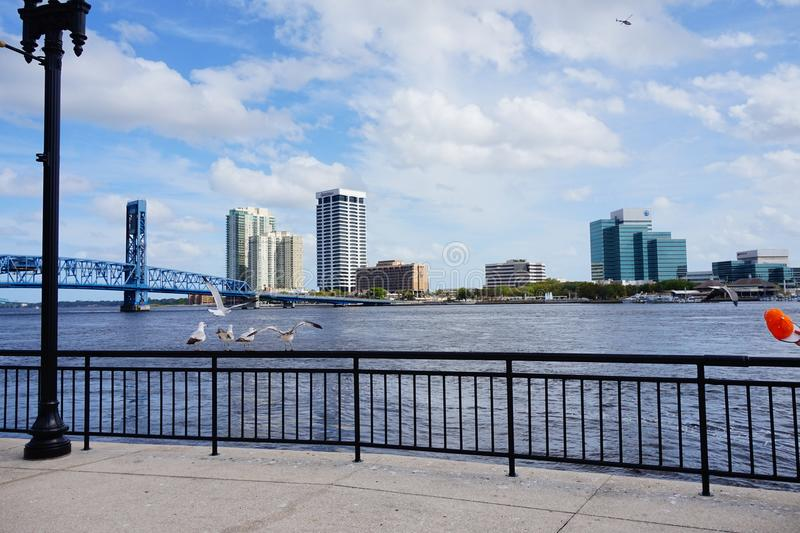 Jacksonville downtown and st johns river. Landscape of Jacksonville downtown in Florida, USA stock photography