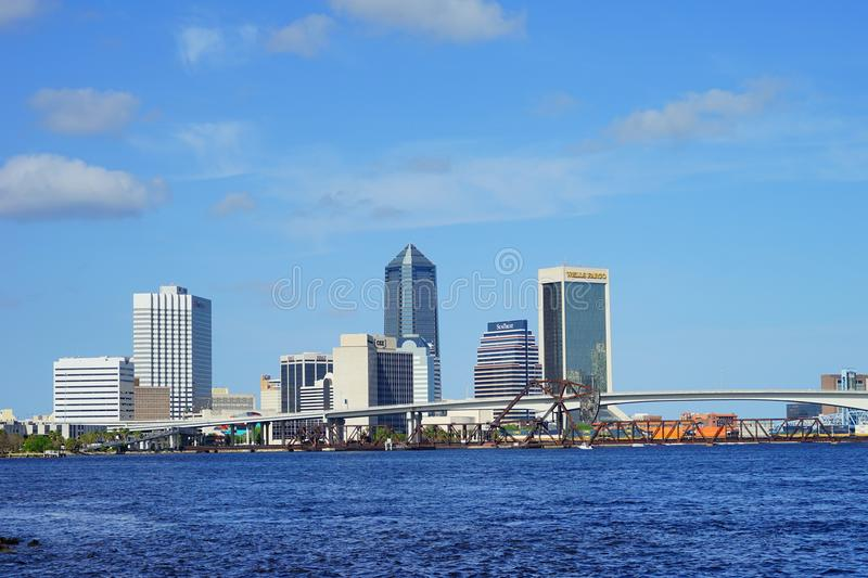 Jacksonville downtown and st johns river. Landscape of Jacksonville downtown in Florida, USA royalty free stock photos