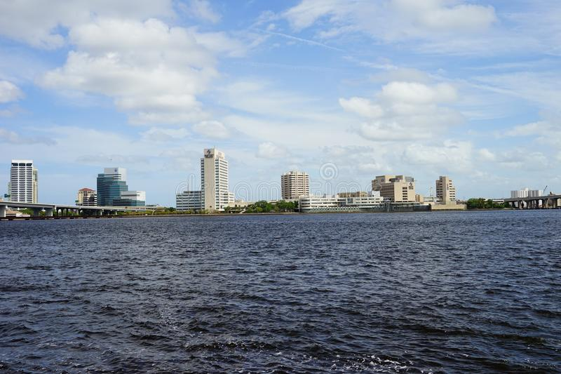 Jacksonville downtown and st johns river. Landscape of Jacksonville downtown in Florida, USA royalty free stock images