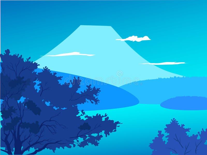 Landscape Japan Spring - blue background vector illustration