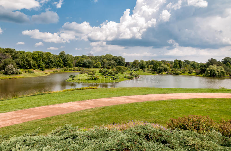 Summer Landscape on sunny day of Japanese Island in Chicago Botanic Garden. royalty free stock photo