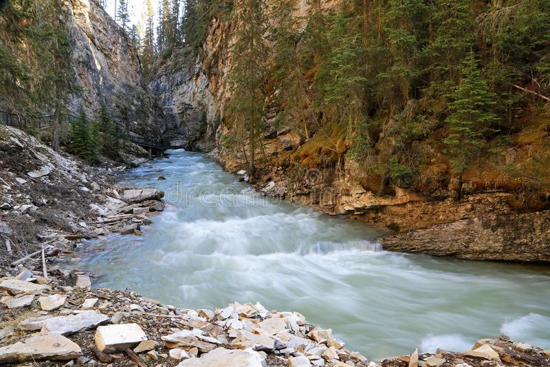 Landscape in Johnston Canyon. Johnston Canyon - Banff National Park, Alberta, Canada stock image