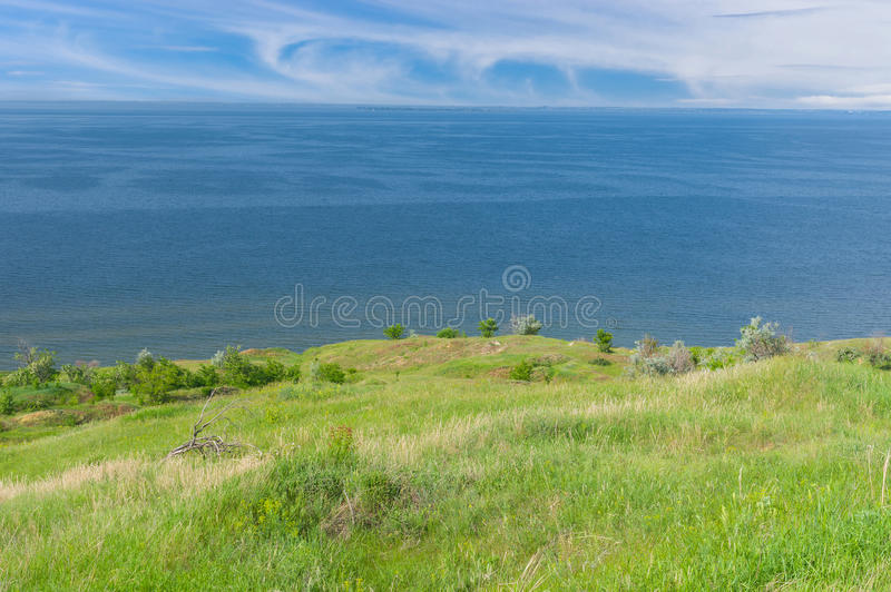 Landscape with Kakhovka Reservoir located on the Dnepr River. June landscape with Kakhovka Reservoir located on the Dnepr River, Ukraine stock photo