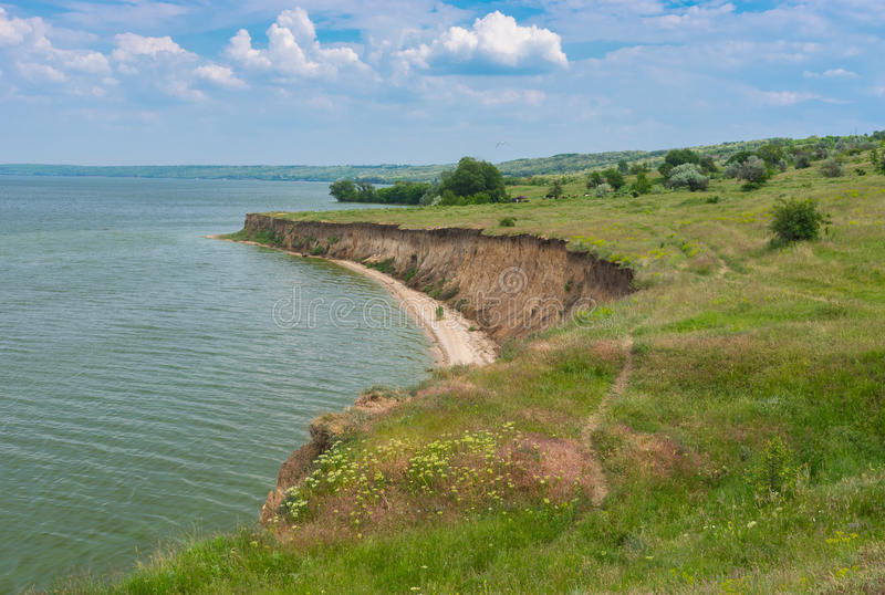 Landscape with Kakhovka Reservoir located on the Dnepr River, Ukraine. Spring landscape with Kakhovka Reservoir located on the Dnepr River, Ukraine stock images