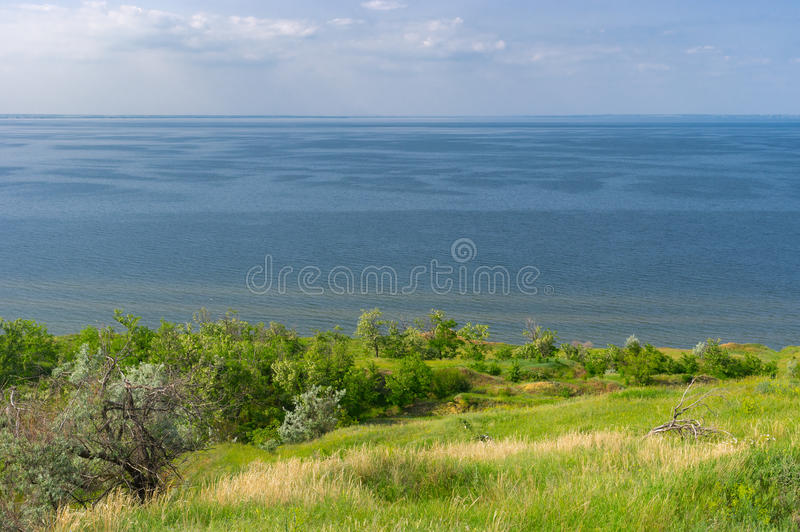 Landscape with Kakhovka Reservoir located on the Dnepr River, Ukraine royalty free stock photography