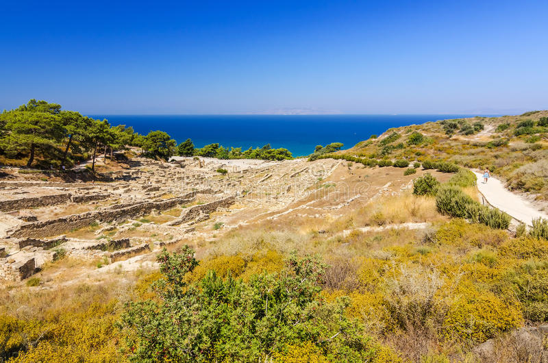 Landscape of Kamiros ruins. Beautiful summer landscape of Rhodes island stock photos