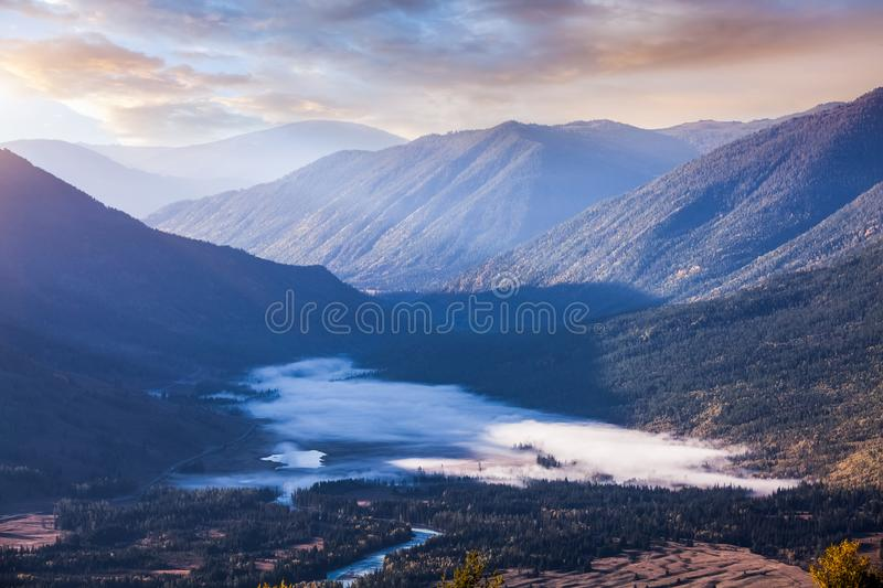 Landscape of Kanas in China stock photography