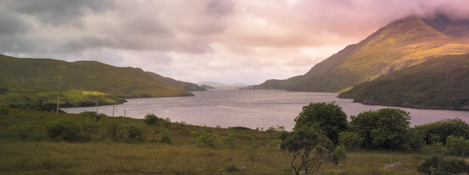 Landscape of Killary Harbour, fjord in Connemara, located in the west coast of Ireland royalty free stock image