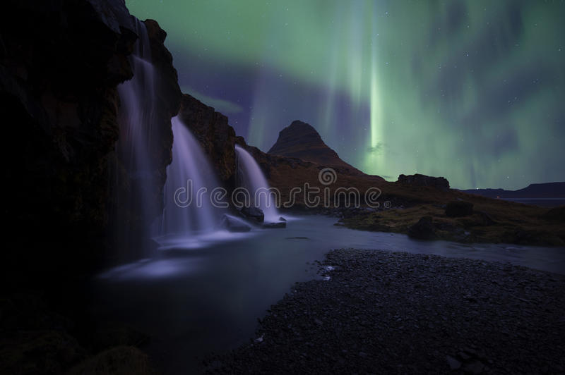 The landscape kirkjufell of Iceland. The landscape kirkjufell mountain on west of Iceland royalty free stock images
