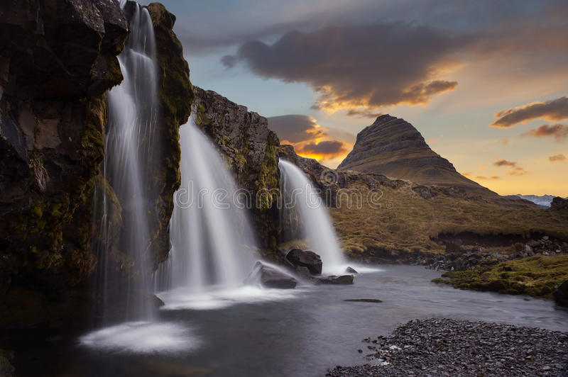 The landscape kirkjufell of Iceland. The landscape kirkjufell mountain on west of Iceland royalty free stock image