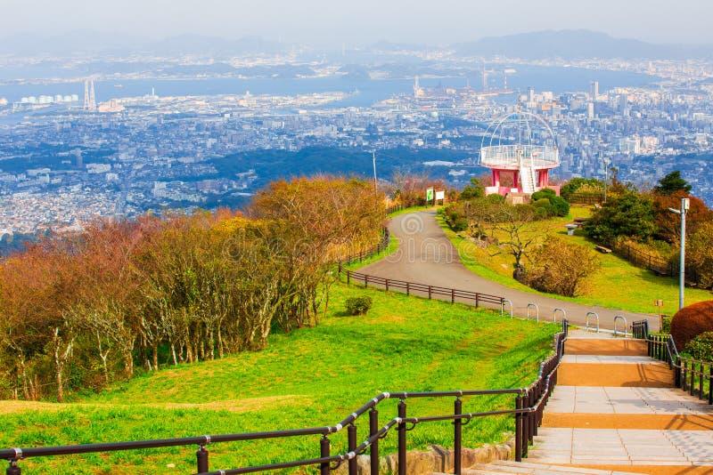 Landscape of Kitakyushu city japan looked from Sakurayama Observatory.Blue sky in the autumn season. Landscape of Kitakyushu city japan looked from Sakurayama royalty free stock image