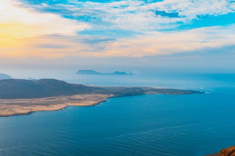 Landscape of La Graciosa seen from the Mirador del Río on the cliffs of Lanzarote stock image