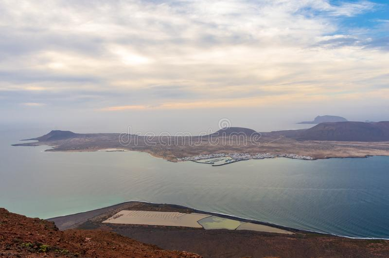Landscape of La Graciosa seen from the Mirador del Río on the cliffs of Lanzarote stock photo