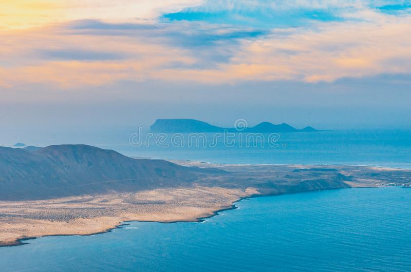 Landscape of La Graciosa seen from the Mirador del Río on the cliffs of Lanzarote royalty free stock images