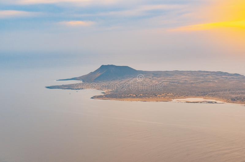 Landscape of La Graciosa seen from the Mirador del Río on the cliffs of Lanzarote royalty free stock photography