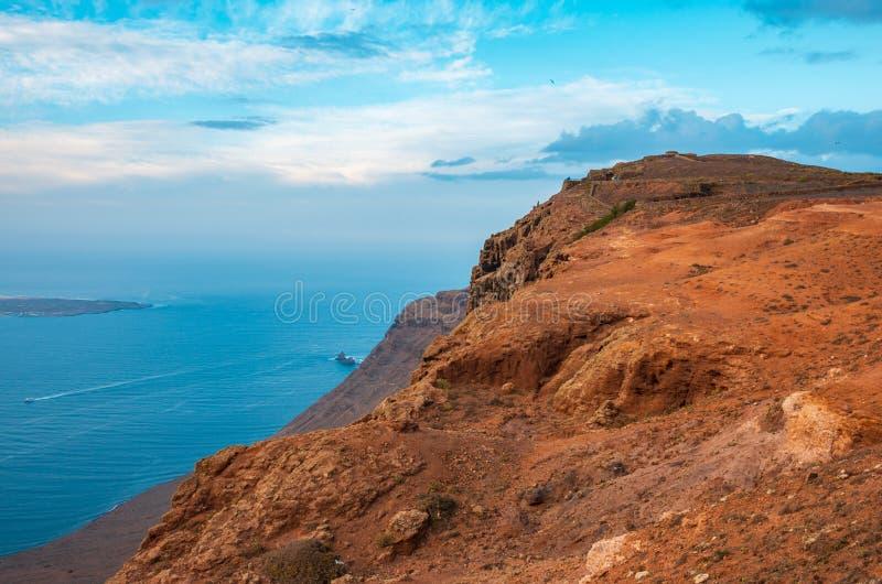 Landscape of La Graciosa seen from the Mirador del Río on the cliffs of Lanzarote royalty free stock image