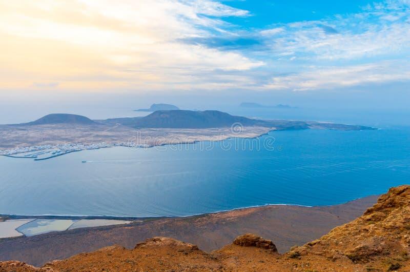 Landscape of La Graciosa seen from the Mirador del Río on the cliffs of Lanzarote royalty free stock photos