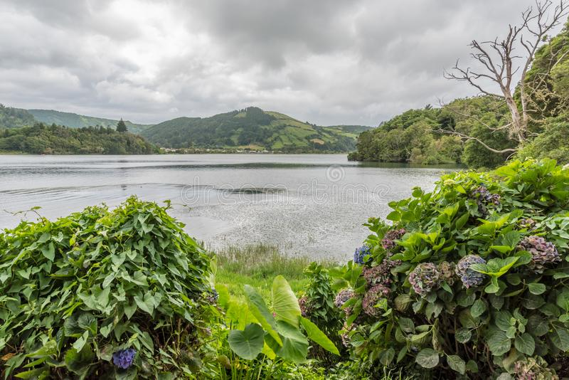 Lagoa Azul in Sete Cidades on the island of Sao Miguel in the Azores, Portugal royalty free stock photo