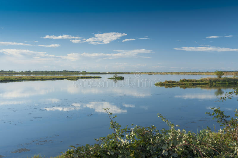 Landscape of the lagoon at the Po delta river national park, Italy. royalty free stock images