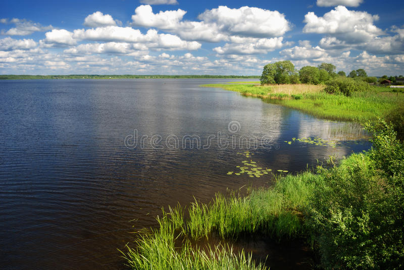 Landscape with lake stock photo