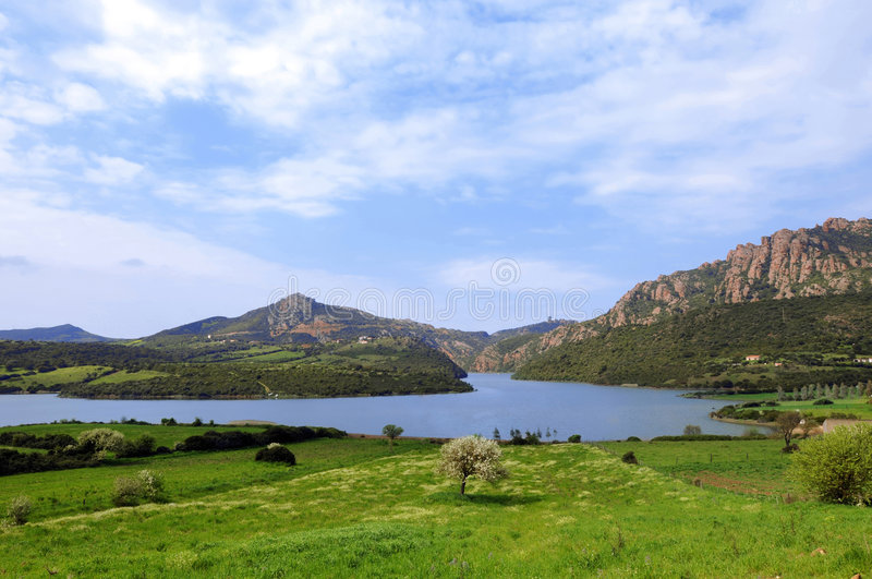 Landscape with lake stock photography