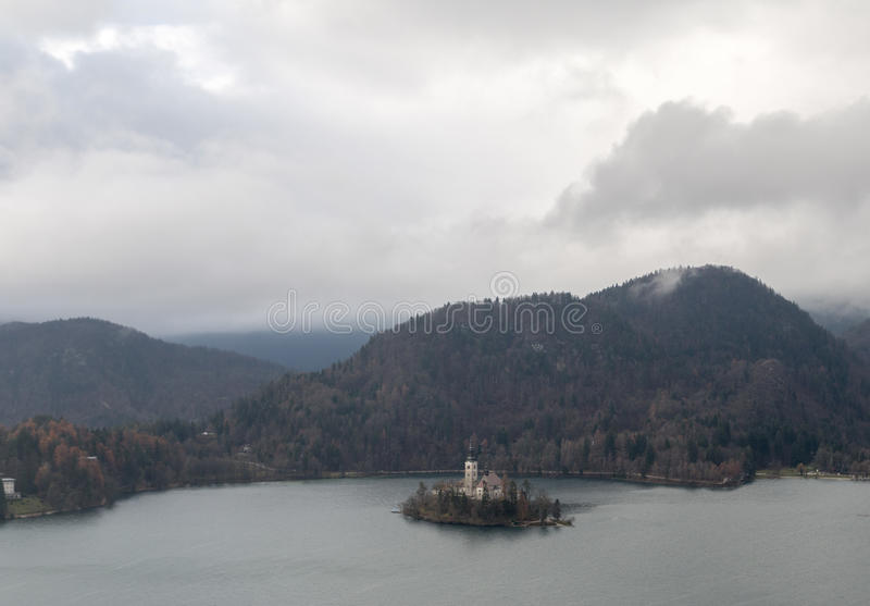 Landscape of the lake of Bled stock image
