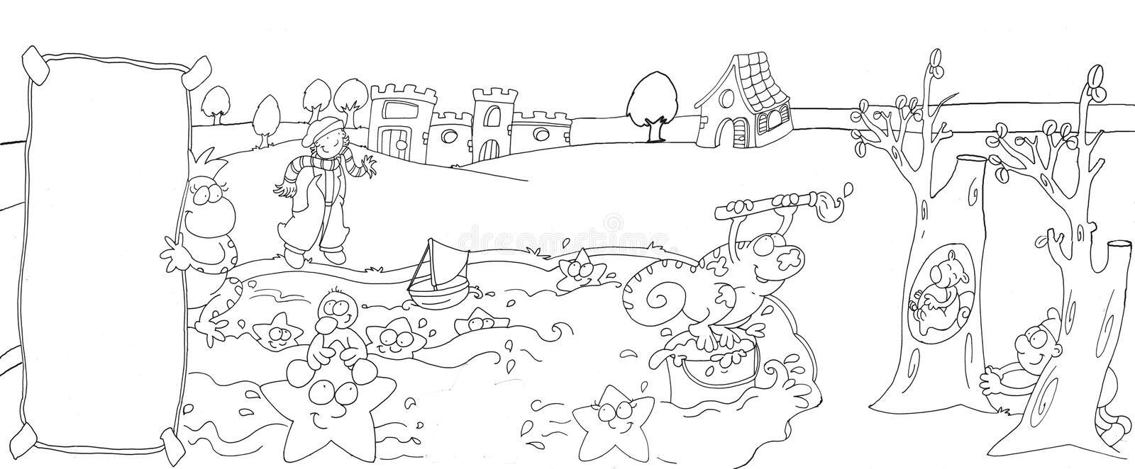landscape lake with castle and animals chameleon with brush,chine drawn by color vector illustration