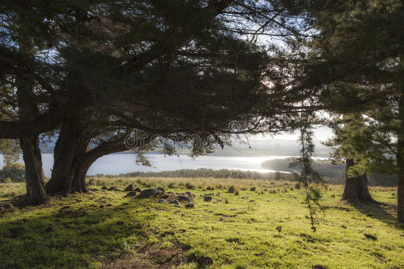 Landscape with lake Coila in the background. Bingie. Australia. royalty free stock images