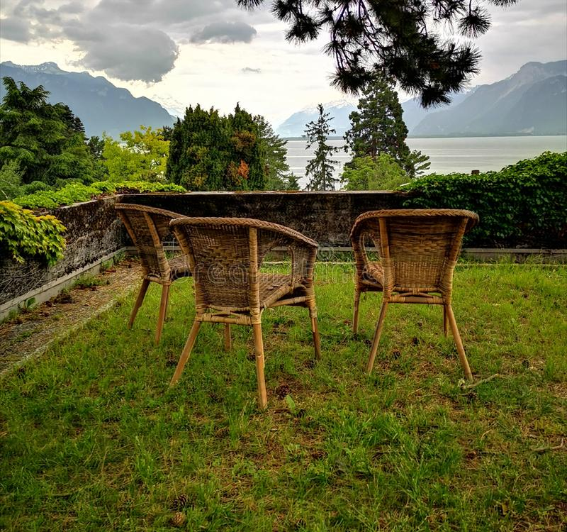 Landscape of lake geneva and swiss alps royalty free stock images