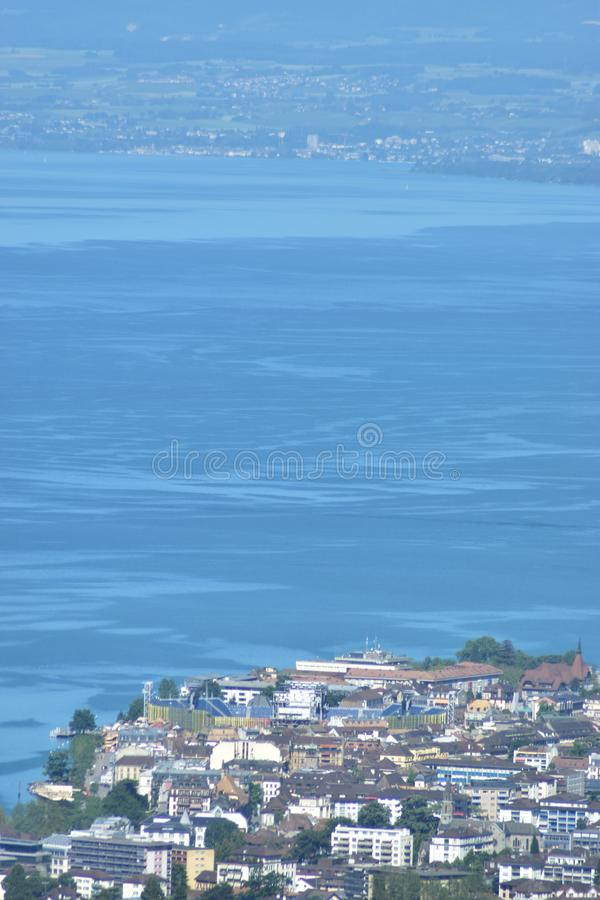 Landscape of lake Geneva and of Vevey and Fetes des Vignerons 2019 Arena. In the first ground stock photography