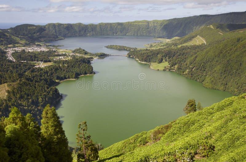 Landscape with lake. Lagoa azul lagoa verde. Sao Miguel. Azores royalty free stock photo