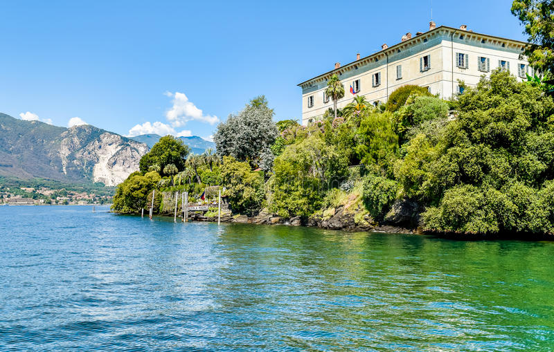Landscape with lake Maggiore and island Madre, Italy. Landscape with lake Maggiore and island Madre, is one of the Borromean Islands in Piedmont of north Italy royalty free stock photo