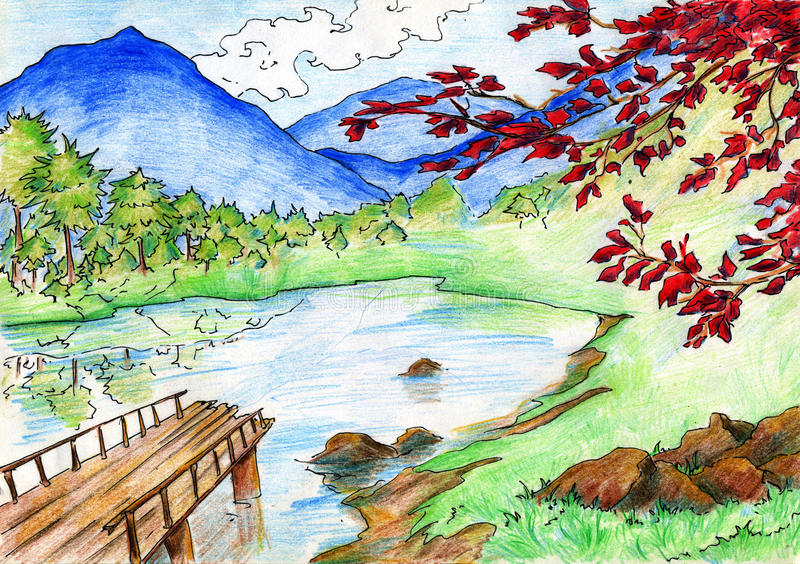 Download Landscape With Lake And Mountains Stock Illustration - Illustration: 31830045