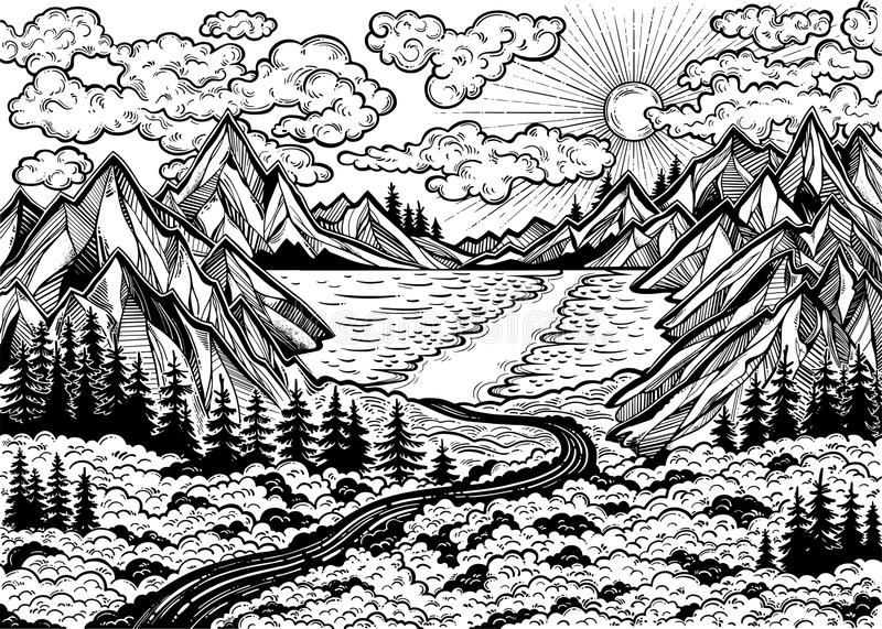 Landscape with a lake, road, forest and mountains. royalty free illustration