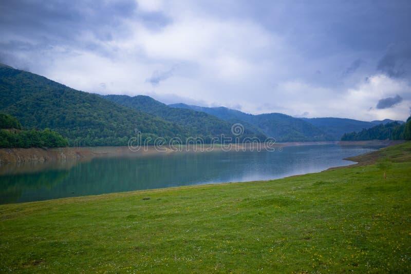 landscape of a lake shore stock photo