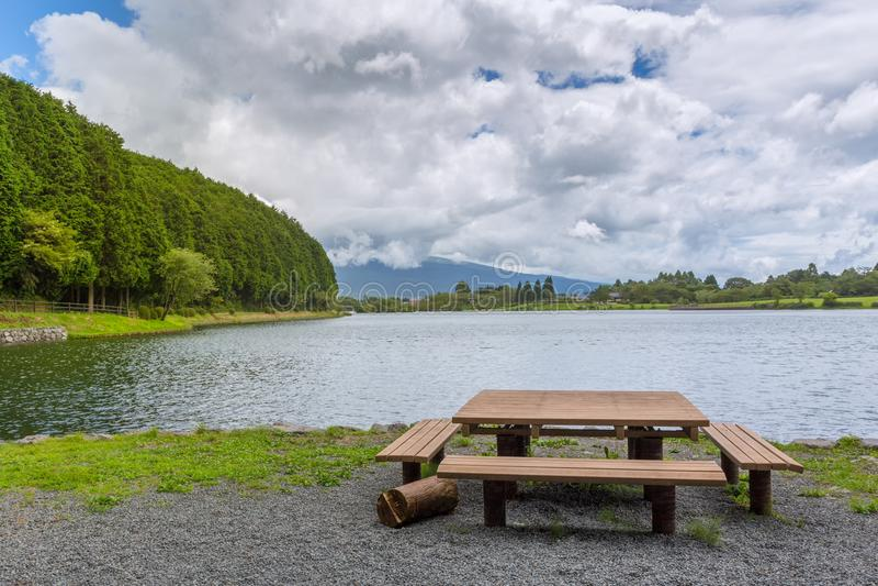 Landscape of lake tanuki at fujinomoya , japan. Landscape of lake tanuki at fujinomoya in japan stock images