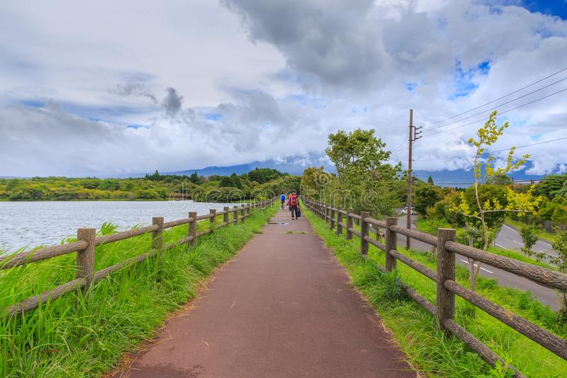 Landscape of lake tanuki at fujinomoya , japan. Landscape of lake tanuki at fujinomoya in japan stock photography