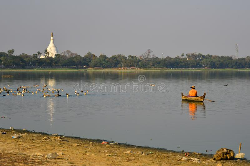 Landscape of Lake Taungthaman Myanmar stock photo