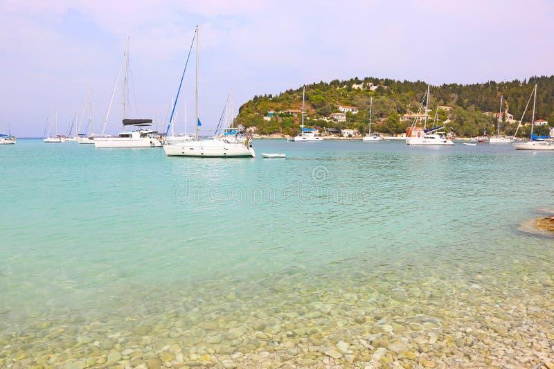 Landscape of Lakka village Paxos island Greece stock photography