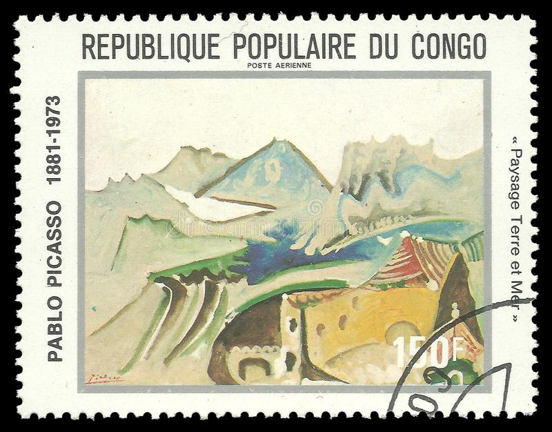 Landscape Land and Sea. Congo - stamp 1981: Color edition dedicated to Pablo Picasso Centenary Anniversary, Painting Landscape Land and Sea