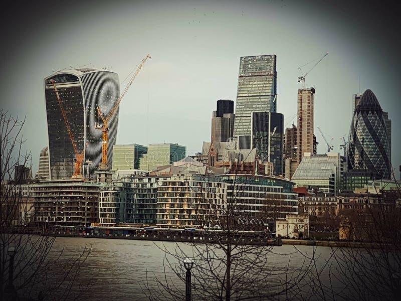 Landscape landmarks panoramic panorama London construction architecture city centre. London construction water river city centre art symbol bouldings royalty free stock photography